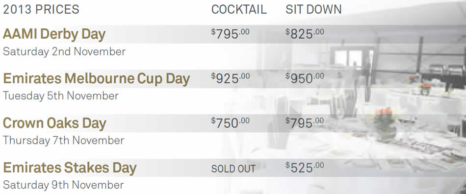 Oaks Day Marquee Pricing